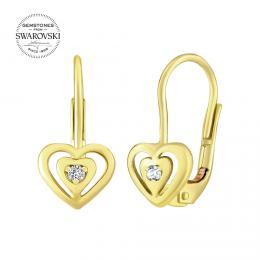 SILVEGO zlaté náušnice srdce s pøírodním èirým topazem Swarovski Gemstones - zvìtšit obrázek