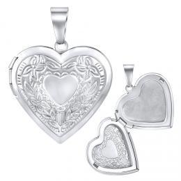 Ocelový medailon srdce otevírací - 43 cm
