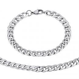 Ocelový set náramku a náhrdelníku CURB 8 mm