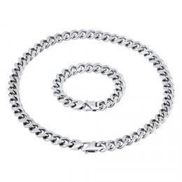 Masivní set náramku a náhrdelníku CURB 13 mm