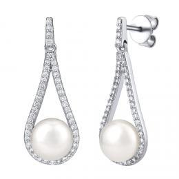 Silvego støíbrné luxusní náušnice s bílou pøírodní perlou