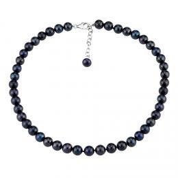Perlový náhrdelník z pøírodních èerných perel se støíbrným zapínáním
