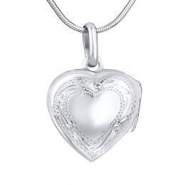 Støíbrný medailon otevirací srdce s rytím 16 mm