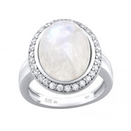 Silvego støíbrný prsten s pøírodním Mìsíèním kamenem