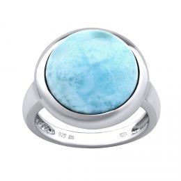Silvego støíbrný prsten s pøírodním Larimarem - zvìtšit obrázek