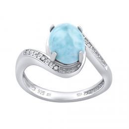Silvego støíbrný prsten s pøírodním Larimarem