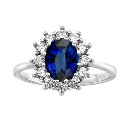St��brn� prsten princezny Kate se syntetick�m Saf�rem