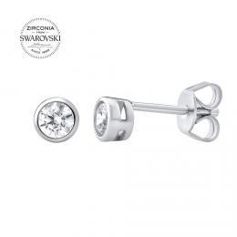 SILVEGO stшнbrnй nбuљnice pecky se Swarovski® Zirconia 4 mm