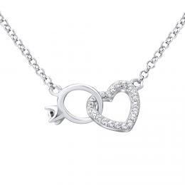 Støíbrný náhrdelník srdce spojené s prstýnkem