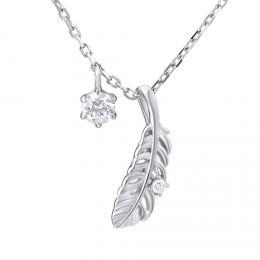 SILVEGO støíbrný náhrdelník s pírkem se Swarovski® Zirconia