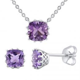 Støíbrný set šperkù - náušnice a pøívìsek s pravým ametystem