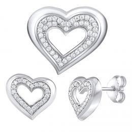 St��brn� d�rkov� souprava �perk� ve tvaru srdce
