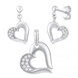 Stшнbrnб souprava љperkщ ve tvaru srdce - nбuљnice a pшнvмsek