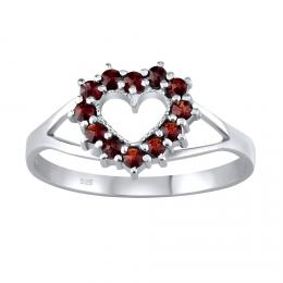 Støíbrný prsten srdce s pravým pøírodním Granátem