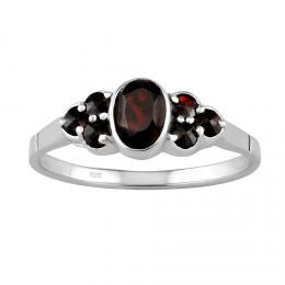Støíbrný prsten s pravým pøírodním Granátem