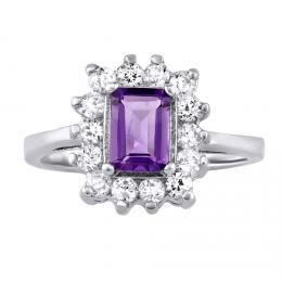 Støíbrný prsten s pravým pøírodním Ametystem