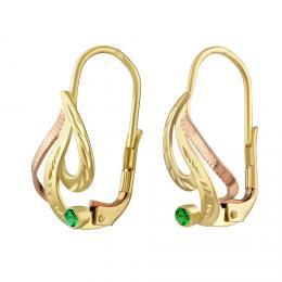 SILVEGO zlaté náušnice s pøírodním zeleným topazem Swarovski® Gemstones - zvìtšit obrázek