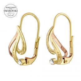 SILVEGO zlaté náušnice s pøírodním èirým topazem Swarovski® Gemstones - zvìtšit obrázek