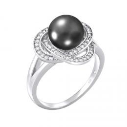 Støíbrný prsten LAGUNA s pravou pøírodní èernou perlou