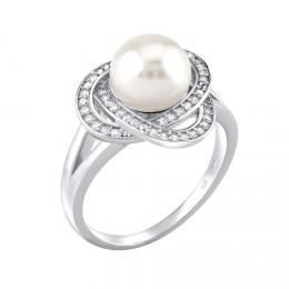 St��brn� prsten LAGUNA s pravou p��rodn� b�lou perlou