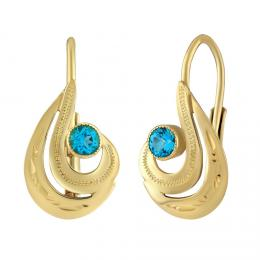 SILVEGO zlaté náušnice s pøírodním topazem Swarovski® Gemstones - zvìtšit obrázek