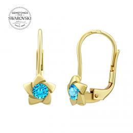 SILVEGO zlat� n�u�nice s p��rodn�m modr�m topazem Swarovski® Gemstones