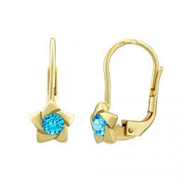 SILVEGO zlaté náušnice s pøírodním modrým topazem Swarovski® Gemstones