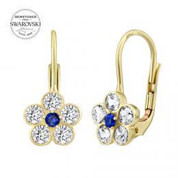 SILVEGO zlaté náušnice s pøírodním topazem Swarovski® Gemstones
