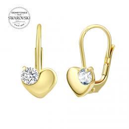 SILVEGO zlaté náušnice srdce s pøírodním èirým topazem Swarovski® Gemstones