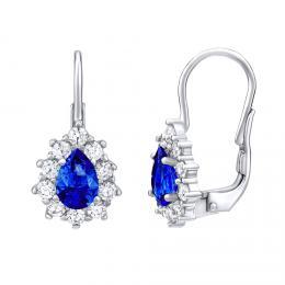 SILVEGO støíbrné náušnice s modrým kamenem Swarovski® Created Stones