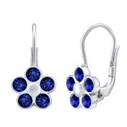 SILVEGO støíbrné náušnice POMNÌNKY s modrým kamenem Swarovski® Created Stones