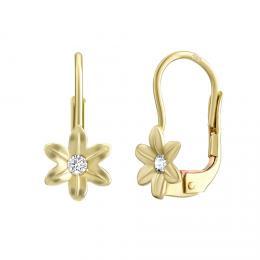 Zlaté náušnice kvìtinky SILVEGO s pøírodním topazem Swarovski Gemstones - zvìtšit obrázek