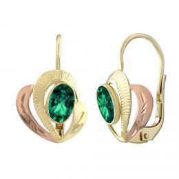 Zlaté náušnice SILVEGO ze žlutého a rùžového zlata s pøírodním zeleným topazem Swarovski® Gemstones - zvìtšit obrázek