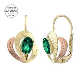 Zlat� n�u�nice SILVEGO ze �lut�ho a r��ov�ho zlata s p��rodn�m zelen�m topazem Swarovski® Gemstones