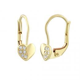 Zlat� n�u�nice SILVEGO srdce s p��rodn�m topazem Swarovski Gemstones