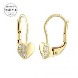 Zlat� n�u�nice SILVEGO srdce s p��rodn�m topazem Swarovski Gemstones - zv�t�it obr�zek