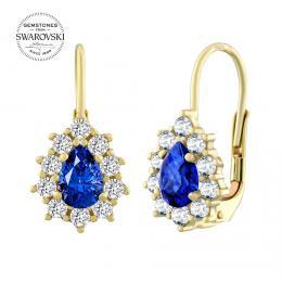 Zlaté náušnice slzièky SILVEGO s pøírodním modrým topazem Swarovski® Gemstones - zvìtšit obrázek