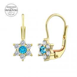 Zlat� n�u�nice kv�tinky SILVEGO s p��rodn�m topazem Swarovski Gemstones