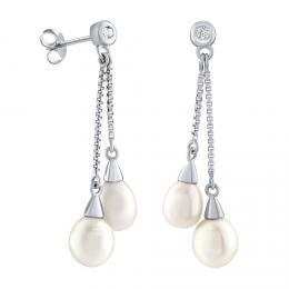 Støíbrné náušnice øetízkové s bílou pøírodní perlou