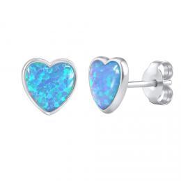 Støíbrné náušnice srdce pecky s modrým opálem