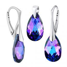 SILVEGO støíbrný set se Swarovski® Crystals kapka HELIOTROPE