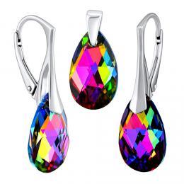 SILVEGO st��brn� set se Swarovski® Crystals kapka Vitrail Medium
