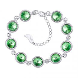 SILVEGO støíbrný náramek se Swarovski® Crystals 8 mm rivoli zelené