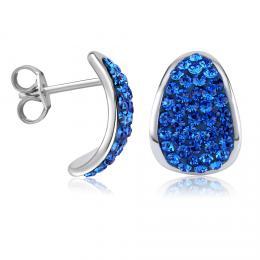 SILVEGO støíbrné náušnice se Swarovski® Crystals 14 mm modré