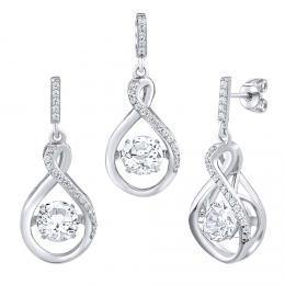 SILVEGO Støíbrná souprava šperkù Amalea s tanèícím bílým topazem a Brilliance Zirconia - náušnice a pøívìsek