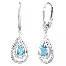 SILVEGO Luxusní støíbrné visací náušnice s pøírodním svìtle modrým Swiss Blue topazem a zirkony