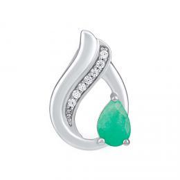 SILVEGO støíbrný pøívìsek Noiva s pøírodním smaragdem a Brilliance zirconia
