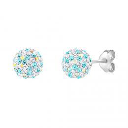 Støíbrné náušnice pecky Odette kulièky 8 mm se Swarovski® Crystals tyrkysová dámské i dìtské
