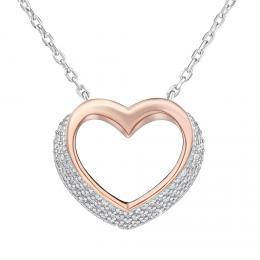 Støíbrný náhrdelník SRDCE pozlacený rùžovým zlatem