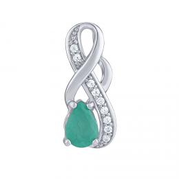 SILVEGO Støíbrný pøívìsek Estelle s pravým Smaragdem a èirými Brilliance Zirconia